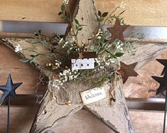 Primitive Country Wooden Star Welcome Door/Wall Decor