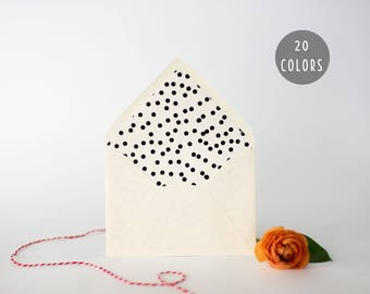 confetti dot lined envelopes (20 color options) - sets of 10 // envelope liners lined envelope modern wedding shower party invitation invite