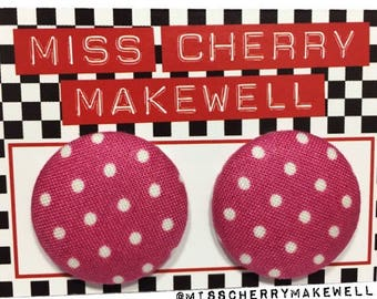 Pink and White Ditsy Polka Dot Fabric Button Rockabilly 1950's Pin Up Vintage Inspired Stud Earrings By Miss Cherry Makewell