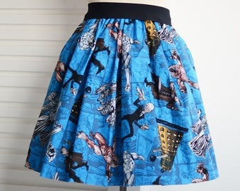 doctor who skater full skirt,ladies skirt,A-Line skirt,pink skirt,knee-length skirt
