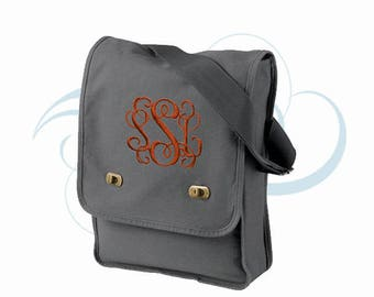 Monogrammed Messenger Field Bag, Authentic Pigment Messenger Field Bag