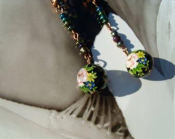 Summer evening TENSHA EARRINGS flower rose gold green blue black ball earrings