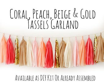 Coral, Peach, Beige, Cream, Gold Tassel Garland with Jute Twine, Backdrop, Photo Prop, Party Decoration, Wall Decor, Birthday Decor