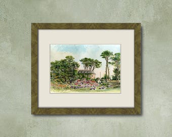 Watercolor of your property - breton Manor on the coast of granite pink
