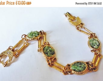 Vintage Dainty Gold Plated Bracelet with Wyoming Jade Chippings