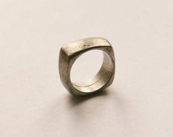 Gorgeous Chunky Pewter Mens Ring // UK Size R // Made in England // Valentines Gift Idea For Him