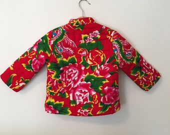 Vintage Baby Jacket/ Baby Girl Coat/ Baby Girl Clothes/ Baby Coat/ 3T/ Quilted Asian Souvenir Jacket
