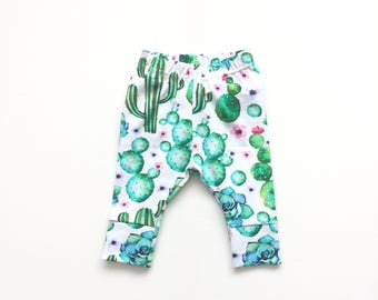 White baby leggings with cactuses. Comfy toddler pants. Cotton knit fabric with cacti. Infant cuff leggings.