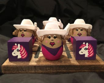 COWGIRL with PONY Tic-TacToe Set