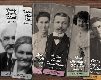Printable ancestor bookmark template. Create unique family reunion keepsakes with a photo and family tree | INSTANT DOWNLOAD