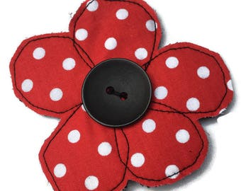 Red poppy   polka dot   brooch   badge   accessory   decoration   flower   fabric brooch   bold flower