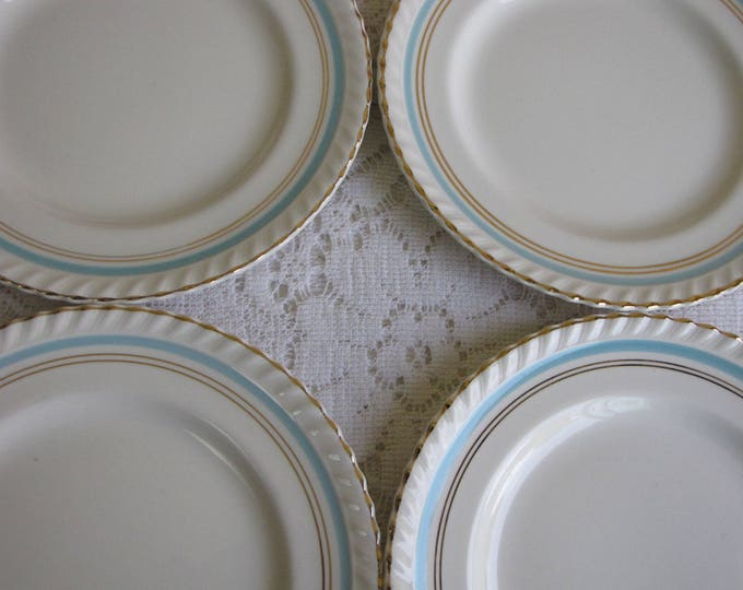 Johnson Bros. Bread and Butter Plates Old English Set of Four (4) Circa 1945 Turquoise and Gold