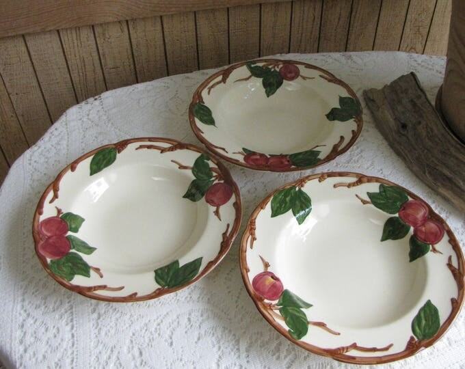 Franciscan Apple Soup Bowls Set of Three 1949- 1953 Vintage Dinnerware and Replacements California Pottery