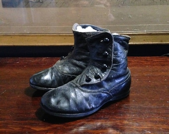 Antique Victorian Child's  / Toddler's Black Leather Button High Top Shoes  Collectibles Home Decor Display Shop Display
