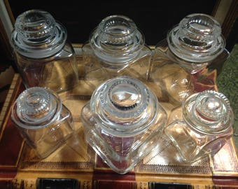 6 Clear Glass Storage Jars - Graduated - Kitchen - Spice Jars - Candy Jars - Bathroom Storage Jars
