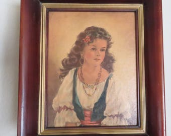 Two Vintage Chiko & Elena, by Anne Allaben, two paintings-free shipping USA