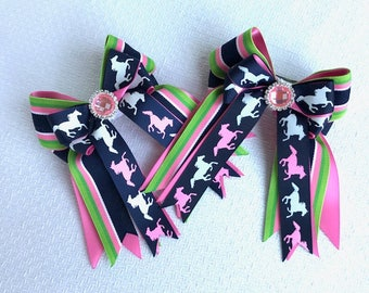 SHORTY Pony Horse Show Bows/Pink Sparkle Gem/beautiful gift
