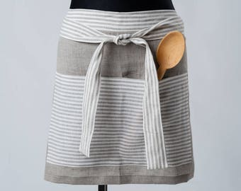 Softened linen apron, apron with pockets, daily linen apron, rustig apron, cafe apron, half custom apron, traditional apron, kitchen apron,