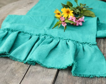 Ruffled Table Runner: Wedding Runner, Table Runners, Green Table Runner,  Table Linens