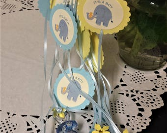 12 Baby Shower Pacifier Necklace, Baby Shower Favor, Baby Shower Necklace,  Blue Baby