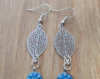 Earrings blue glazed embossed snowflake