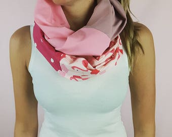 All pink infinity scarf with flamingo , women infinity scarf,  infinity scarf, 100% cotton Women scarf, APRT, accessory fashion