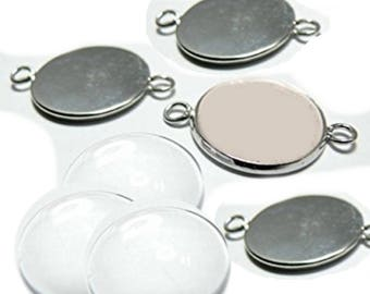 Set of 3 dividers with cabochon 20 mm 2 fasteners