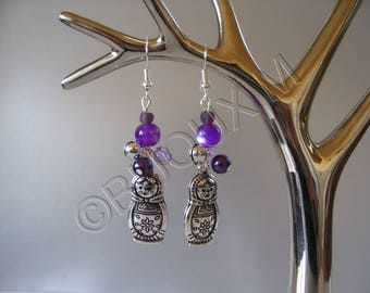 Purple fantasy jewelry earrings Matryoshkas