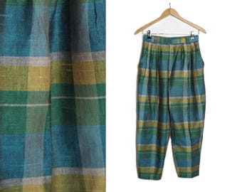 Plaid trousers, Vintage High waists, Green trousers, Checkered pants, 70s pants, High waisted, Womens pants, Womens trousers, / Small Medium