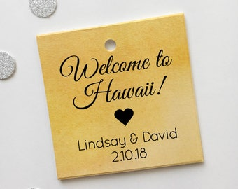 Destination Wedding Personalized Watercolor Favor Tags, Watercolor Wedding Shower Favor Tags, Multicolor Hang Tags (SQ-056-WC)