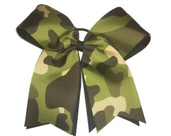 Cheerleader Camouflage Hair Bow