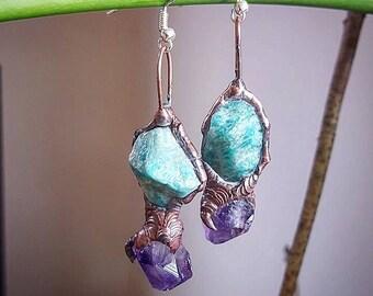 Crystal Earrings, Amazonite, Amethyst, Australian Handmade, Magical, Healing, Gypsy, Wild Earth, Mermaid, Faery, Wedding, Unique, Love.