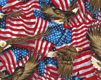 Patriotic Cotton-American Eagles Cotton Fabric Sold by the yard