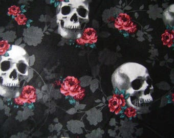 Skull Roses Cotton Fabric Sold by the Yard