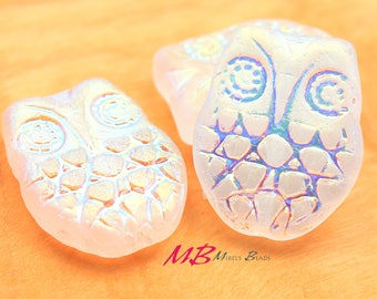 6 pcs Czech Owl Beads, Glass White with AB Finish, 18x15mm