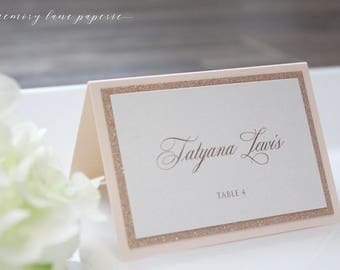 Rose Gold Place Card Glitter And Blush Escort