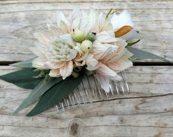 Blushing Bride Wedding Hair Comb featuring silk blushing bride, roses, eucalyptus leaves and gumnuts
