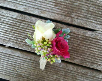 Pink Rose Boutonniere Wedding Buttonhole Corsage Groom Groomsmen Flowers