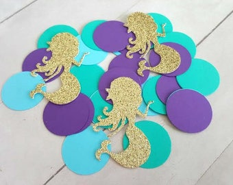 325 Mermaid Confetti, Gold Glitter Mermaid Confetti, Mermaid Bridal Shower Decorations, Mermaid Birthday Decorations, Mermaid Party Decor