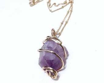 Amethyst Necklace, Amethyst Pendant, Amethyst Jewelry, February Birthstone Necklace, Gifts for Her, Gifts for Women, Valentines Day Gift