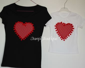 Matching Mother and Daughter Fluffy Mini Hearts T-Shirts/ Matching Family T-Shirts/Mommy and me T-shirts/Mom and daughter matching tshirts