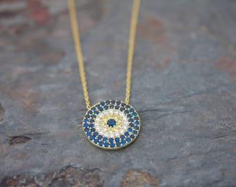 Large round evil eye necklace