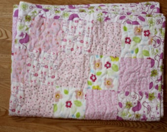 DISCOUNTED! Flannel Baby Quilt, Baby Girl Quilt, Flannel Quilt (price reduced)