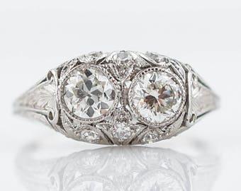 Antique Right Hand Ring Art Deco .65 Old European Cut Diamonds in Platinum