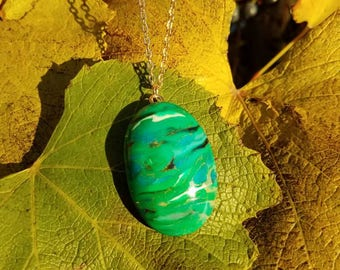 Marbled green cabochon pendants