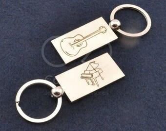 guitar keychain, piano keychain, piano gift, music keychain, piano teacher gift, music teacher gift, music instrument, music student gift