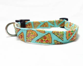 """Dog Collar - """"Pizza"""" - Fast Food/Foodie Dog Collar - Turquoise/Light Blue - Fun/Funny/Cool Dog Collars - Soft/Durable Dog Collar - Cotton"""