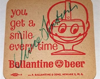 Vince Lombardi    ;     Ballantine Coaster  Signed