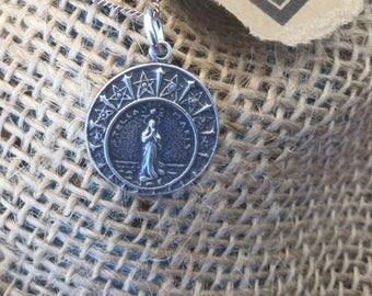 Stella Maris Necklace Sterling Silver Stella Maris Medal Our Lady Star of the sea Women's Catholic Jewelry