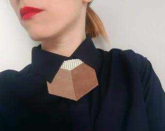Mesh and Leather shirt necklace,unique collar accessory, unisex bow tie alternative, statement necklace, bold necklace, shirt tie, bib